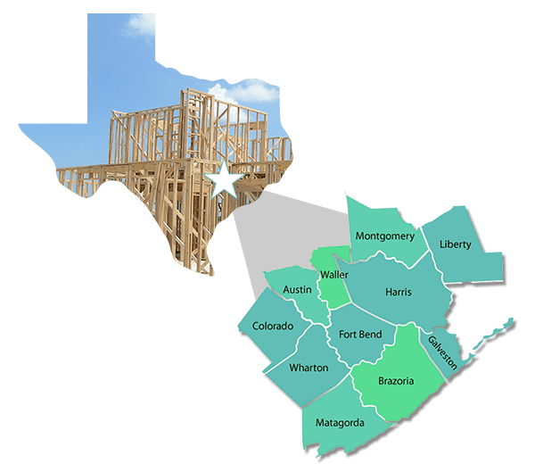 Building in 11 counties of the greater Houston region